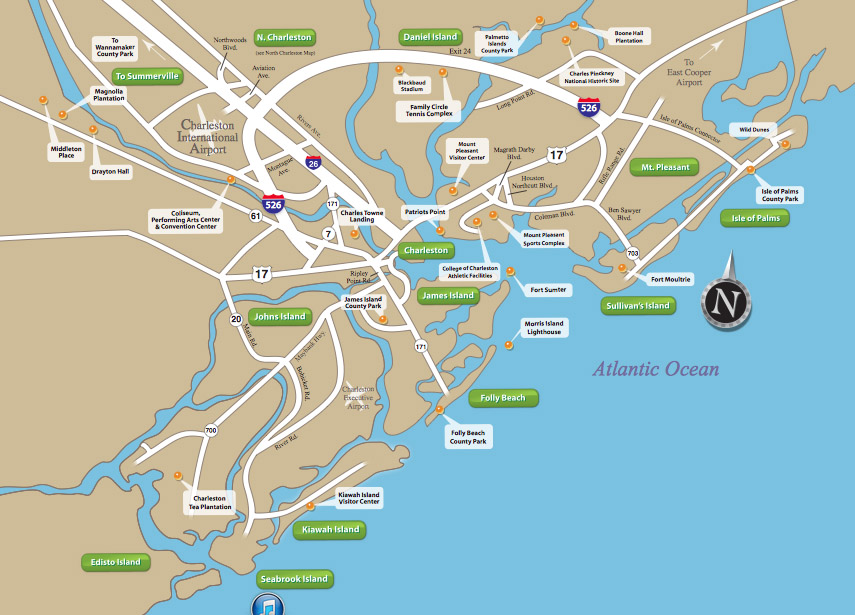 Maps of Charleston Real Estate Area – Charleston Tourist Map
