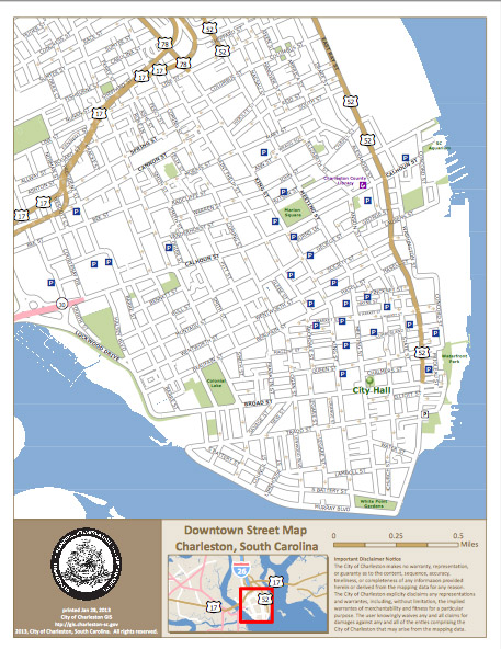 Maps of hsitoric downtown Charleston Residential and Investment